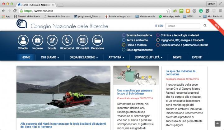 RESEt in home page sul sito del CNR